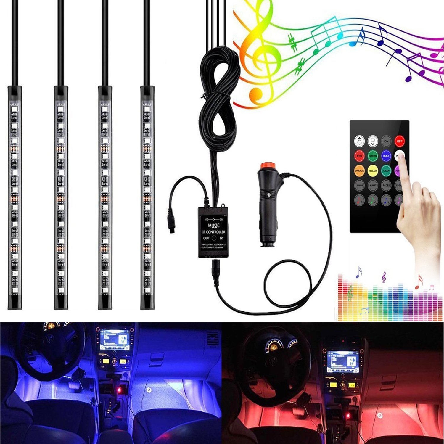 GOOACC Car LED Strip Light, 4pcs 48 LED Multicolor Music Car Interior Lights Under Dash Lighting Waterproof Kit with Sound Active Function and 2 Wireless Remote Control, (Color 08)