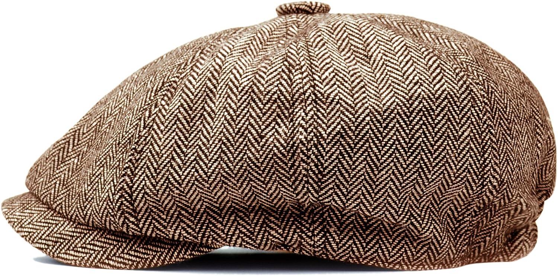 HowYouth Mens Classic Vintage Newsboy 8 Panel Herringbone Tweed Flat Cap Gatsby Baker Boy Hat Unisex 55-58CM
