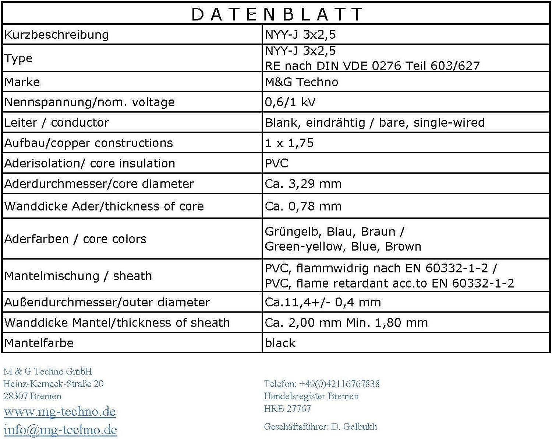 M/&G Techno 10m NYY-J 3x2,5 mmІ Erdkabel Elektrokabel Beton und Freien Kupfer Made in Germany