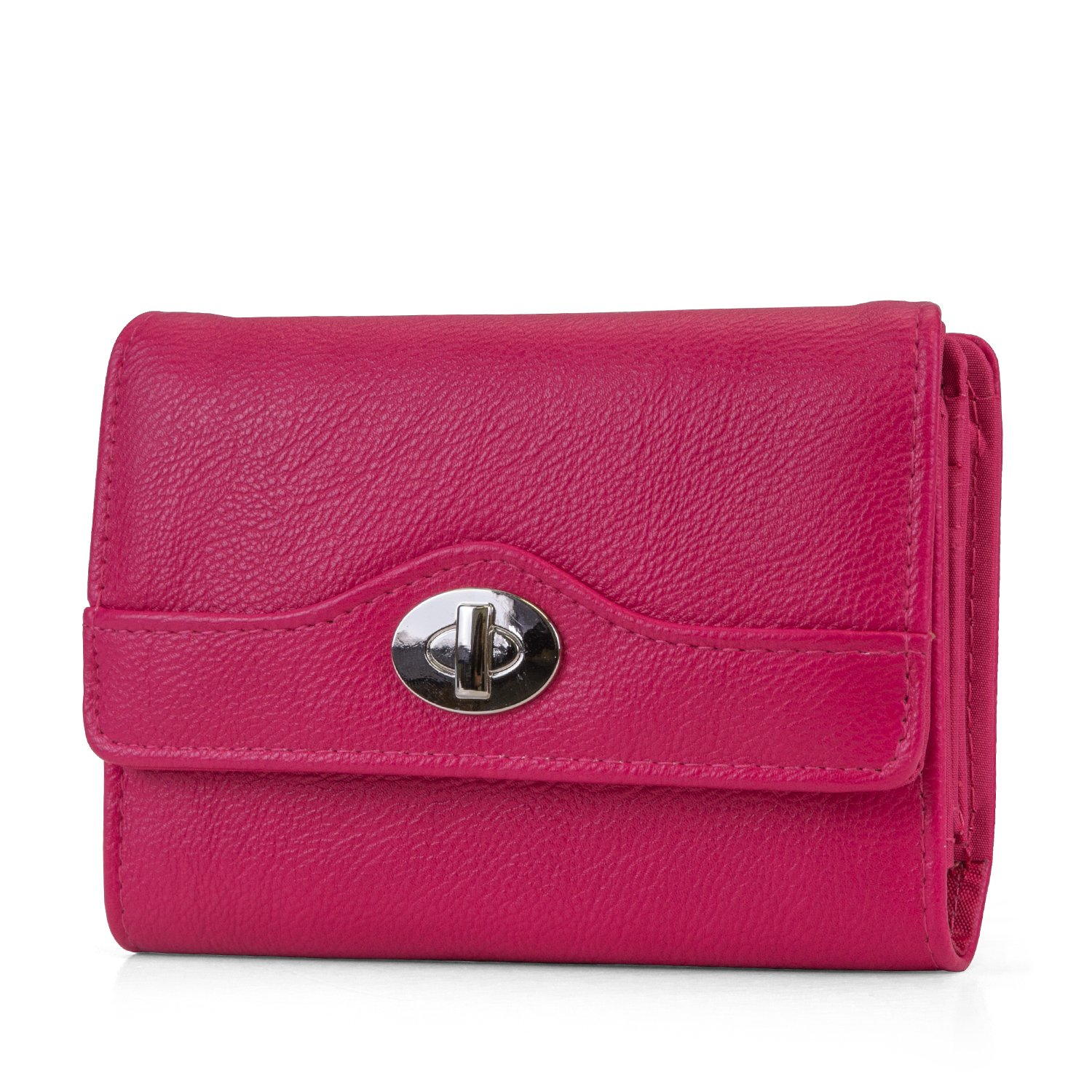 Mundi Small Womens RFID Blocking Wallet Compact Trifold Safe Protection Clutch With Change Purse (Raspberry)