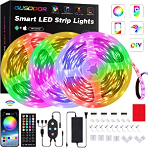 50FT LED Strip Lights , GUSODOR Smart RGB LEDs Light Rope Lights Music Sync DIY Colors Changing Timing with 40-Key Remote + Controller for Bedroom Home TV Party Christmas - Smart APP Controlled