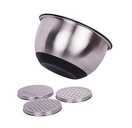 Ensaladera, bol, cuenco de acero inoxidable, 24 cm de diámetro, volumen de 4,5 l, antideslizante con tapa y 3 ralladores para verdura