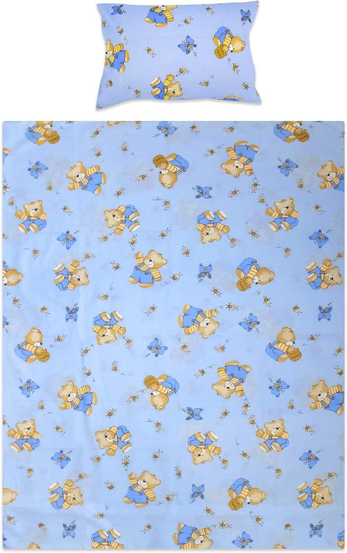 150/x 120/cm Vert Blueberryshop Lit B/éb/é Housse de couette et taie doreiller Parure de lit 2/pi/èces