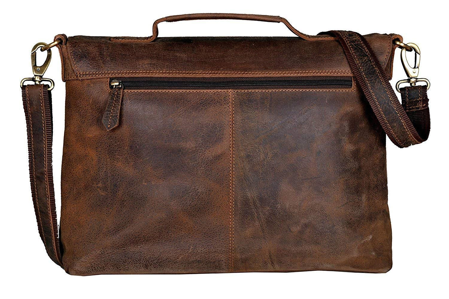 18 Inch Retro Buffalo Hunter Leather Laptop Messenger Bag Office Briefcase College Bag for Men and Women