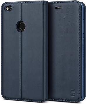 BEZ Funda Huawei P8 Lite 2017, Carcasa Compatible para Huawei P8 Lite 2017, Libro de Cuero con Tapa y Cartera, Cover Protectora con Ranura para Tarjetas y Billetera, Azul: Amazon.es: Electrónica