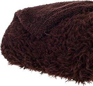 Bedford Home Solid Soft Plush Sherpa Fleece Throw Blanket, Coffee
