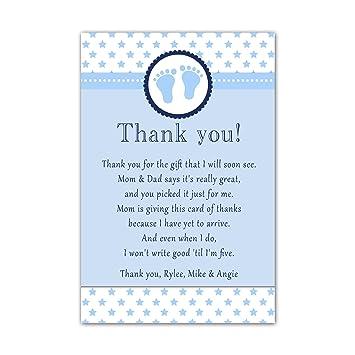Amazon 30 Thank You Cards Baby Boy Shower Cute Feet Stars Blue