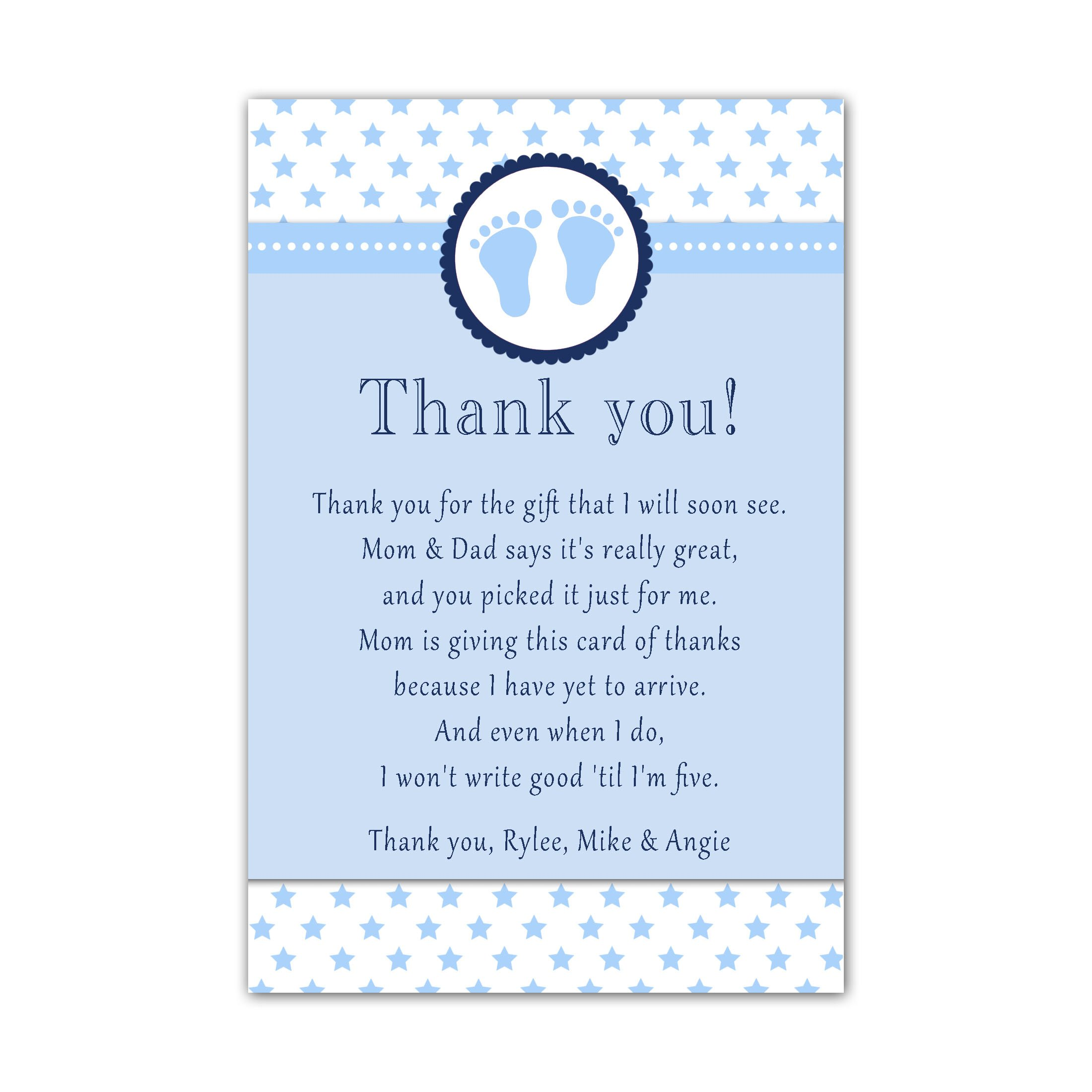 30 Thank You Cards Baby Boy Shower Cute Feet Stars Blue Personalized Cards Photo Paper