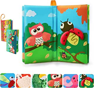 TUMAMA Activity Books Baby Toddler Toys, 3D Crinkle Sound Book Touch and Feel Real Animals, Soft Cloth Book Sets for Education & Learning, Bath Toys Gifts Sets for Kids, Infant, Boys, Girls (2 Packs)