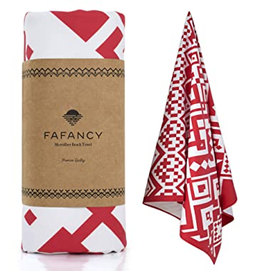 FAFANCY Microfiber Beach Towel - Oversized Quick Dry Sand-Free Absorbent Beach Towels for Kids and Adults - Best Lightweight Thin Towels for Swimming Pool, Camping, Vacation - Extra Large 63x35 Red