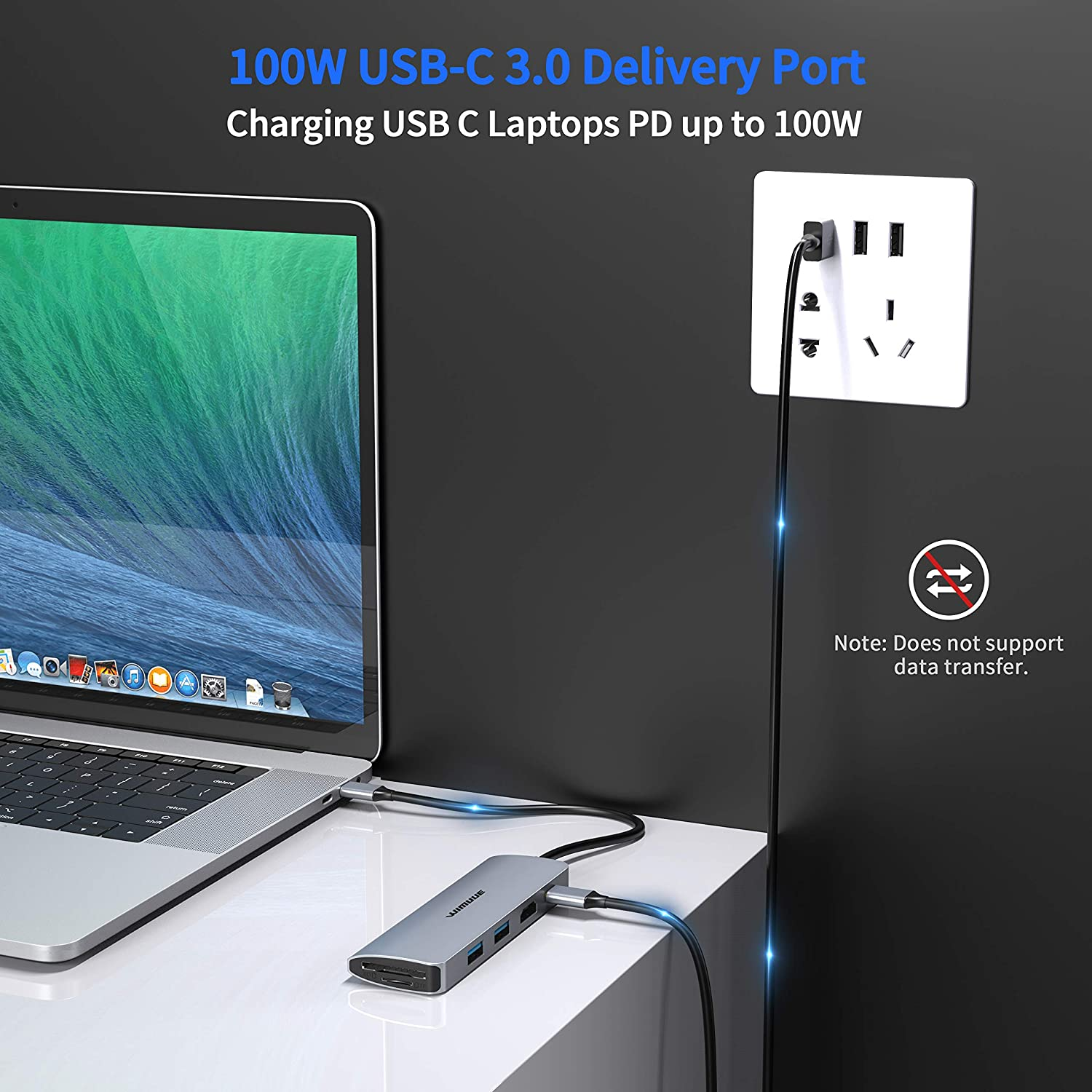 USBC Dongle with 2 x USB 3.0 Ports 100W Power Delivery Micro SD and SD Card Reader Slots USB C Hub WIMUUE 7-in-1 USB-C Adapter for MacBook Pro//Air Multiport Dock for USB Type C Laptops 4K HDMI