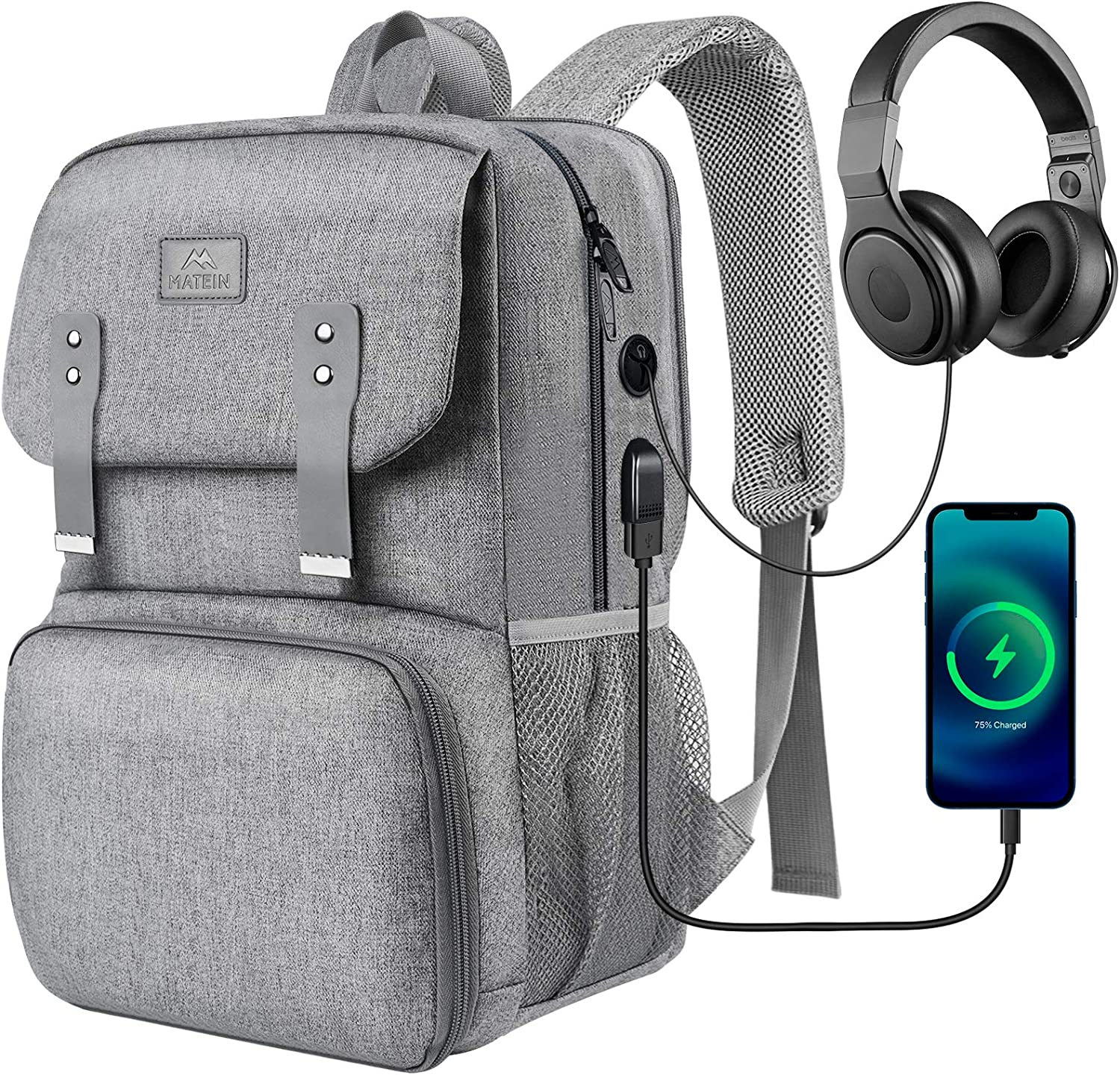 Lunch Bags for Women, Insulated Cooler Backpack Lunchbox School Laptops Bookbag with USB Charging Port, Water Resistant College Computer Bag Fits 15.6 Inch Laptop for Girls, Student Gifts, Grey