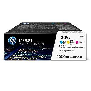 HP 305A (CF370AM) Cyan, Magenta & Yellow Original Toner Cartridges, 3 Cartridges (CE411A, CE412A, CE413A) for HP LaserJet Pro 400 Color MFP M451nw M451dn M451dw, Pro 300 Color MFP M375nw