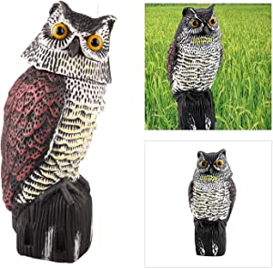Owl Decoy Bird Deterrent with Rotating Head, Natural Enemy Scarecrow Deterrent Pest Crow Bird,Fake Owl for Outdoor Garden Yards