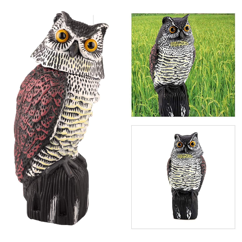 CLEYCYE Owl Decoy Bird Deterrent with Rotating Head, Natural Enemy Scarecrow Deterrent Pest Crow Bird Repellents,Fake Owl for Outdoor Garden Yards