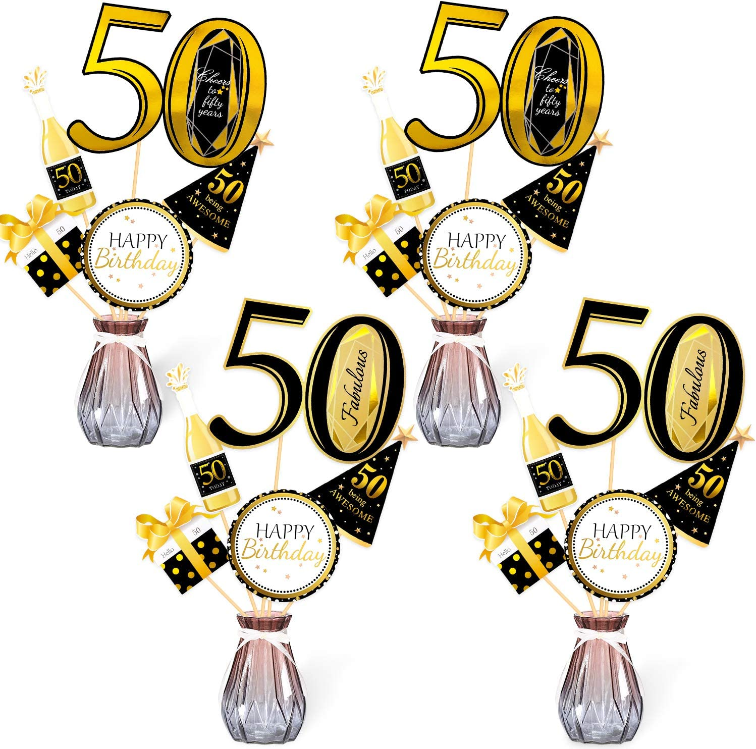 Konsait Black Gold 50th Birthday Centerpiece Sticks-50th Birthday Table Toppers -Birthday Party Decorations Accessories- 50 Fabulous -Bday Party Cheers to fifty Years Birthday Party Favor Table Supplies