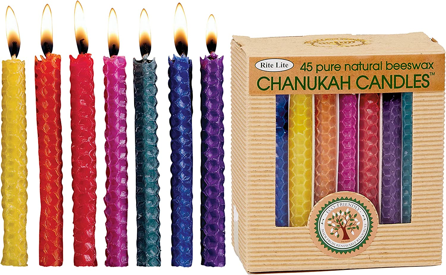 Rite Lite Hand Rolled Honeycomb Beeswax Chanukah Candles Home & Kitchen, 45 CT, Multicolor, Count Hanukah Item