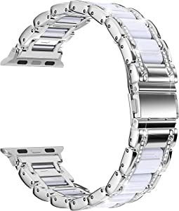 Moolia Metal Strap Band Compatible with Apple Watch Band 38mm 40mm Womens Men Rhinestones Resin Metal Wristband Bracelet Replacement for iWatch Series 6 5 4 3 2 1, Silver + White