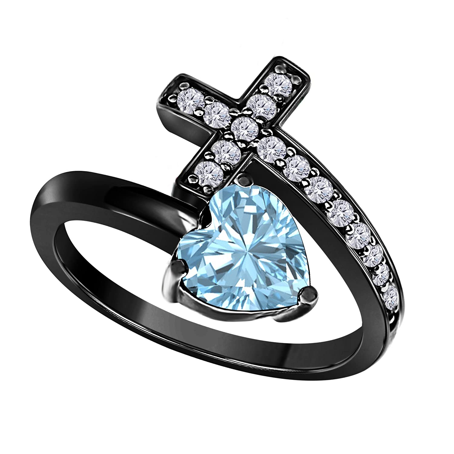 14k Gold Plated Alloy White/Yellow/Rose/Black Heart Cut Created Aquamarine & Cubic Zirconia Christian Sideways Cross Ring Wedding & Engagement Ring Jewelry Free Size