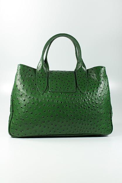 Leder Set 3in1 (Geschenk Set) VERA PELLE - grün strauss - Echt Leder Handtasche + Kosm. Tasche + Pashmina/Viskose Tuch Belli Dv6OsOJGZ