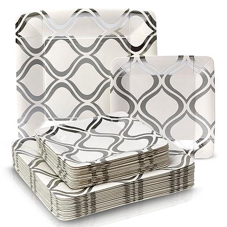 Marroquí colección papel pesado Cena y platos – Desechables cuadrado metálico plata marroquí plato vajilla –