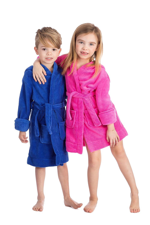 Ragazze Elowel Grigio 100/% Poliestere Bianco Blu Vestaglia Rosa con Cappuccio e Cintura Verde Rosso 14 Anni 2 Anni Viola Colori: Nero Giallo Bambine Bambini Ragazzi