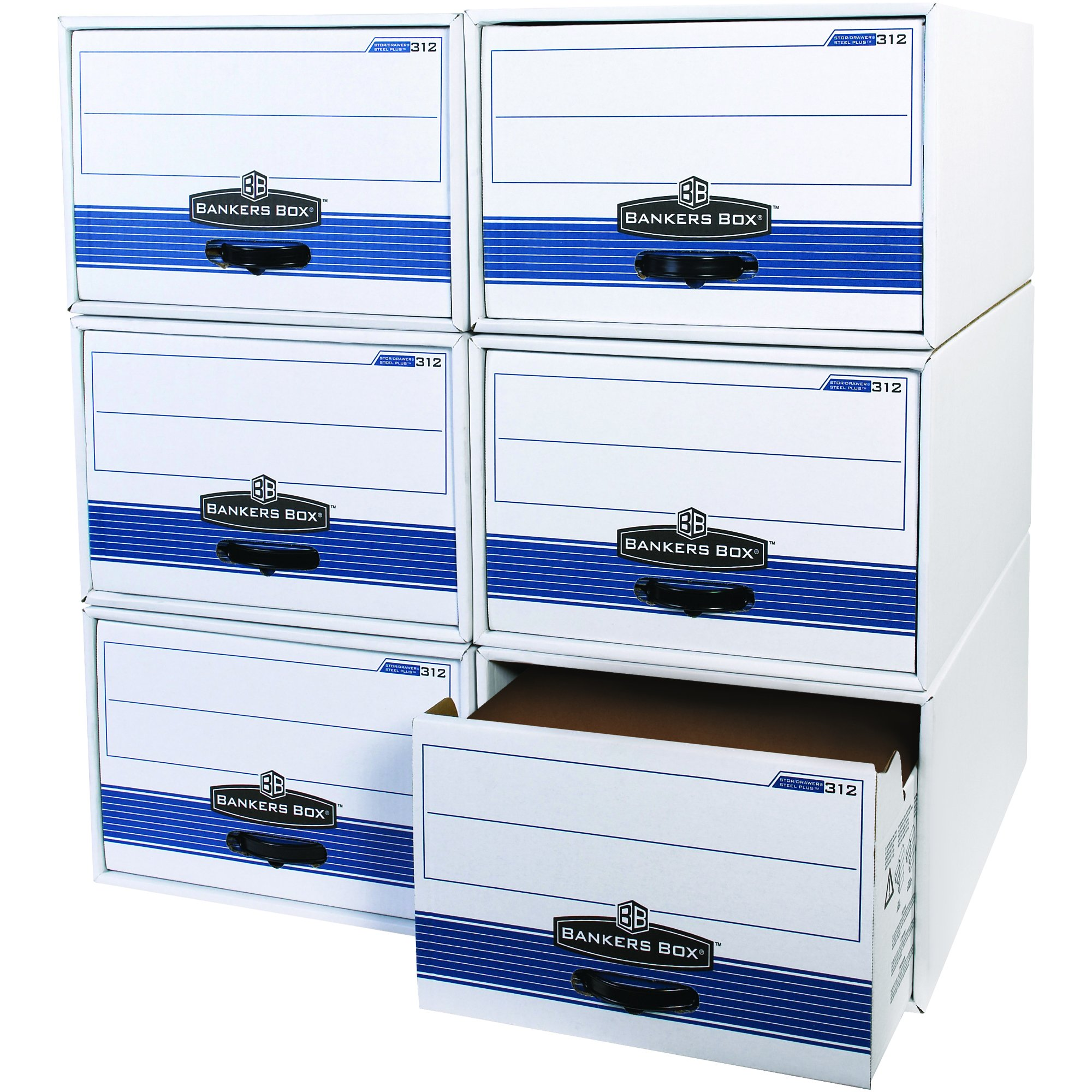 Boxes Fast BFFSB720 Store/Drawer Steel Frame File Storage Boxes, 24'' x 15'' x 10'', for Legal Size Files,, White (Pack of 6)