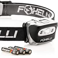 Foxelli Headlamp Flashlight - 165 Lumen, 3 x AAA Batteries Operated, Bright White Cree Led + Red Light, Perfect for…