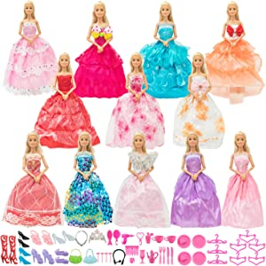 SOTOGO 62 Pieces Doll Clothes and Accessories for 11.5 Inch Girl Doll Include 12 Sets Fashion Handmade Doll Dresses Wedding Dresses Evening Dresses Party Gowns Outfit and 50 Pieces Doll Accessories