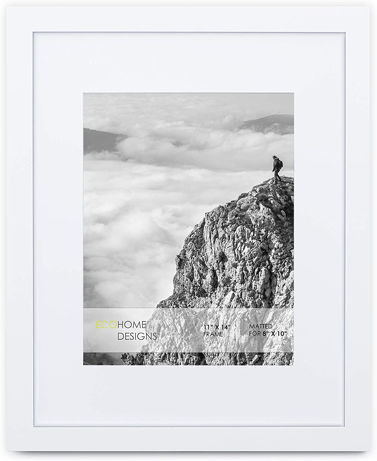 11x14 White Picture Frame - Matted for 8x10 Poster, Frames by EcoHome