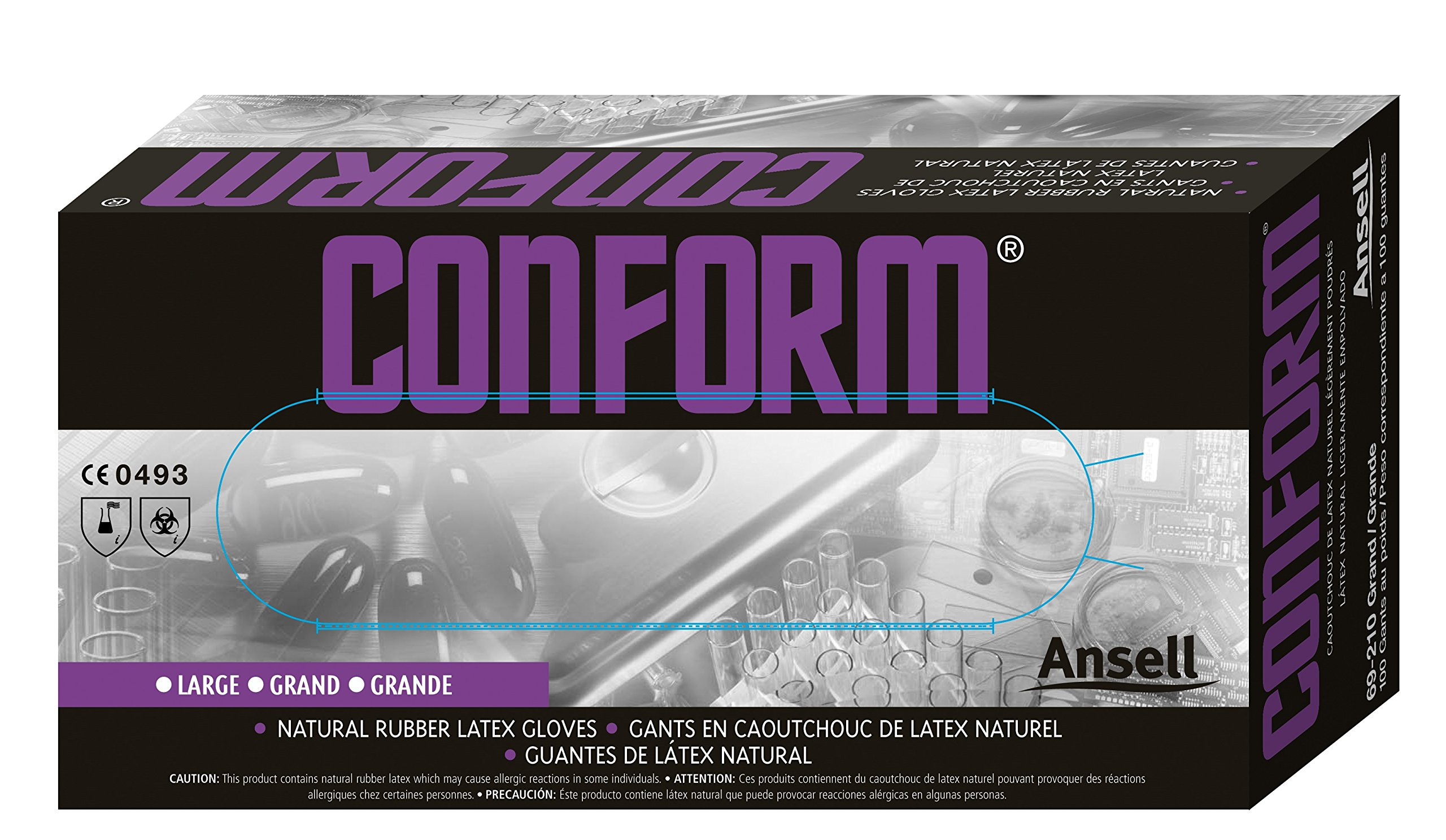 Ansell Conform 69-210 Latex Glove, Powdered, Disposable, Rolled Beaded Cuff, 9'' Length, 5 mils Thick, Medium (Pack of 100)