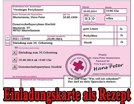 Rezept Als Einladungskarten Zum Geburtstag Party Feier Kranken Rezept  Einladung (20 Stück): Amazon.de: Bürobedarf U0026 Schreibwaren