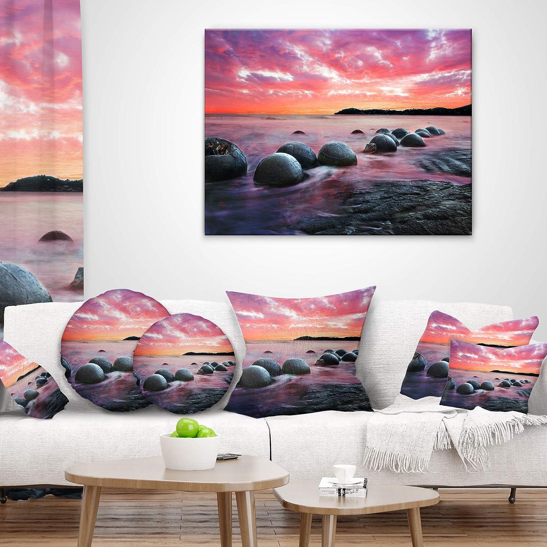 Designart CU9480-16-16-C Moeraki Boulders at Sunset Seashore Photo Round Cushion Cover for Living Room Sofa Throw Pillow 16 Insert Printed On Both Side