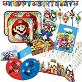 68-teiliges Party-Set Super Mario - Teller Becher Servietten Tischdecke Girlande Happy Birthday, Partytüten, Einladungen, Trinkhalme, Luftballons