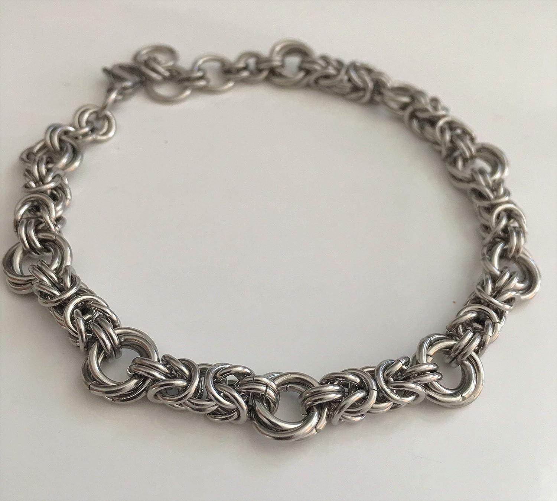 Stainless steel  Copper byzantine bracelet unisex everyday jewelry