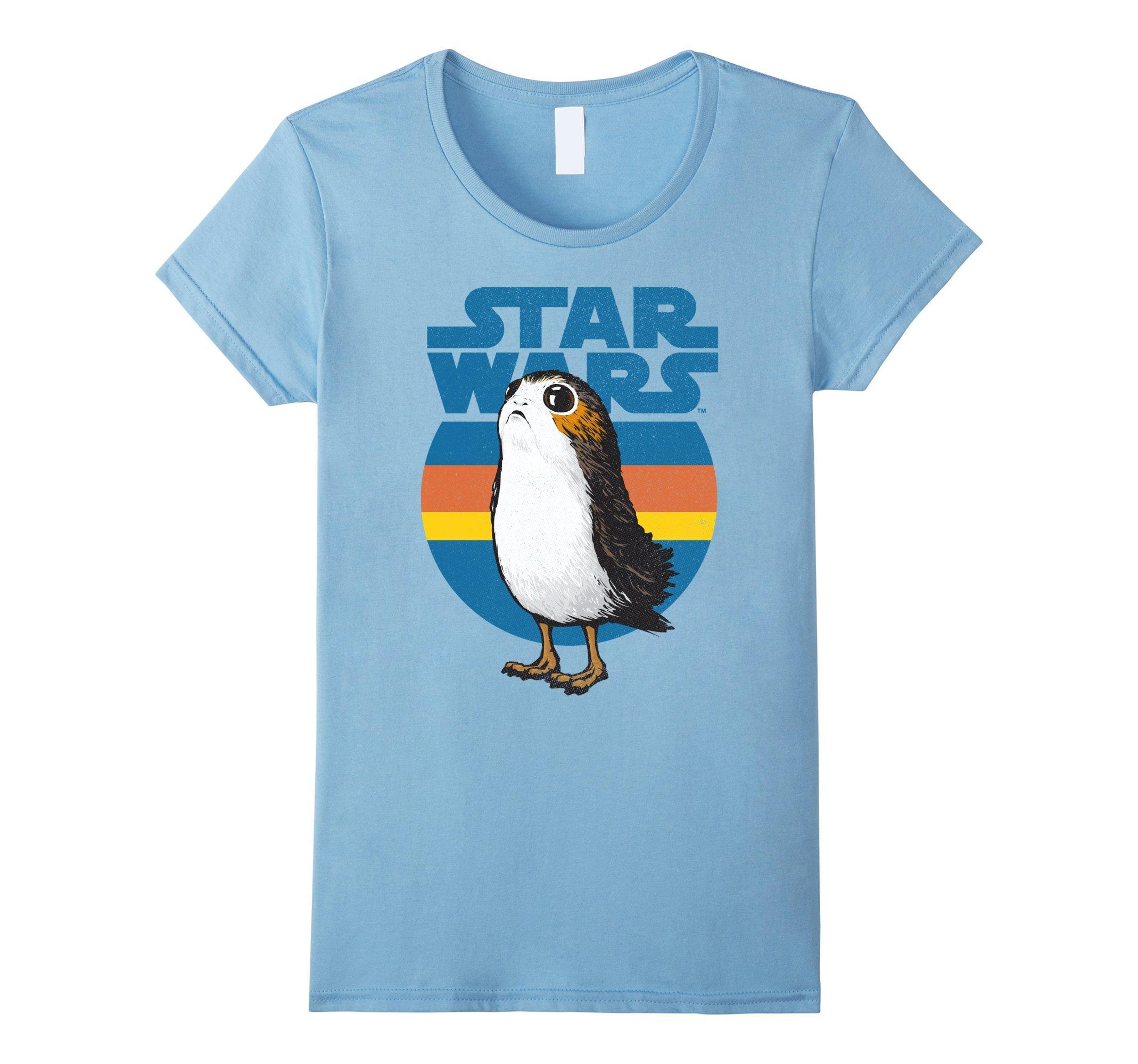 Womens Star Wars Last Jedi Porg Retro Stripes Logo Graphic T-Shirt Large Baby Blue