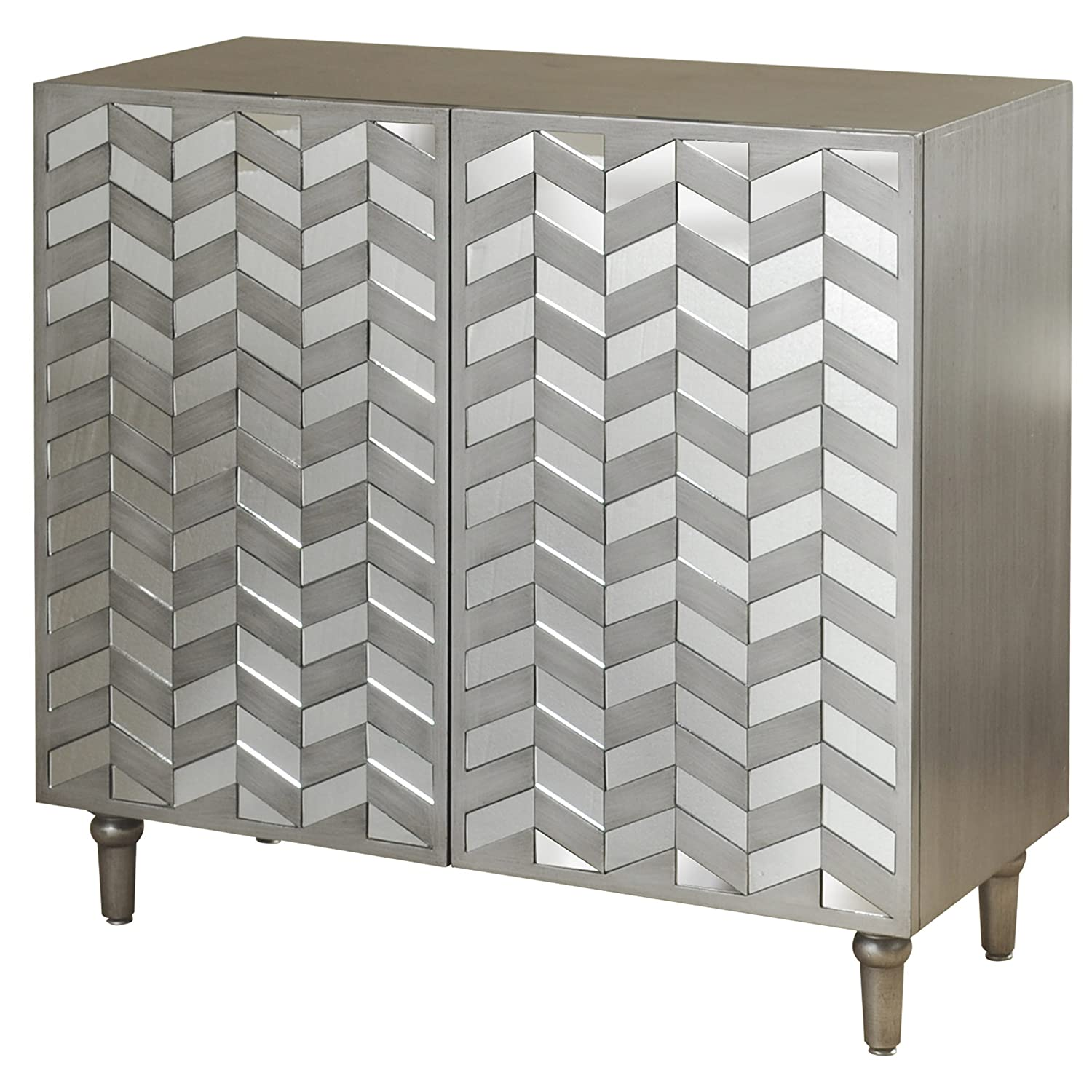 Collective Design SF24793AM Transitional 2 Mirrored Door Fronts-Champagne Silver Credenza