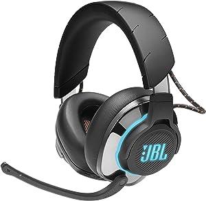 JBL Quantum 800 Auriculares inalámbricos para gamers con un diseño llamativo, tecnología de virtualización surround, reproducción DTS, cancelación de ruido y Bluetooth 5.0, color negro