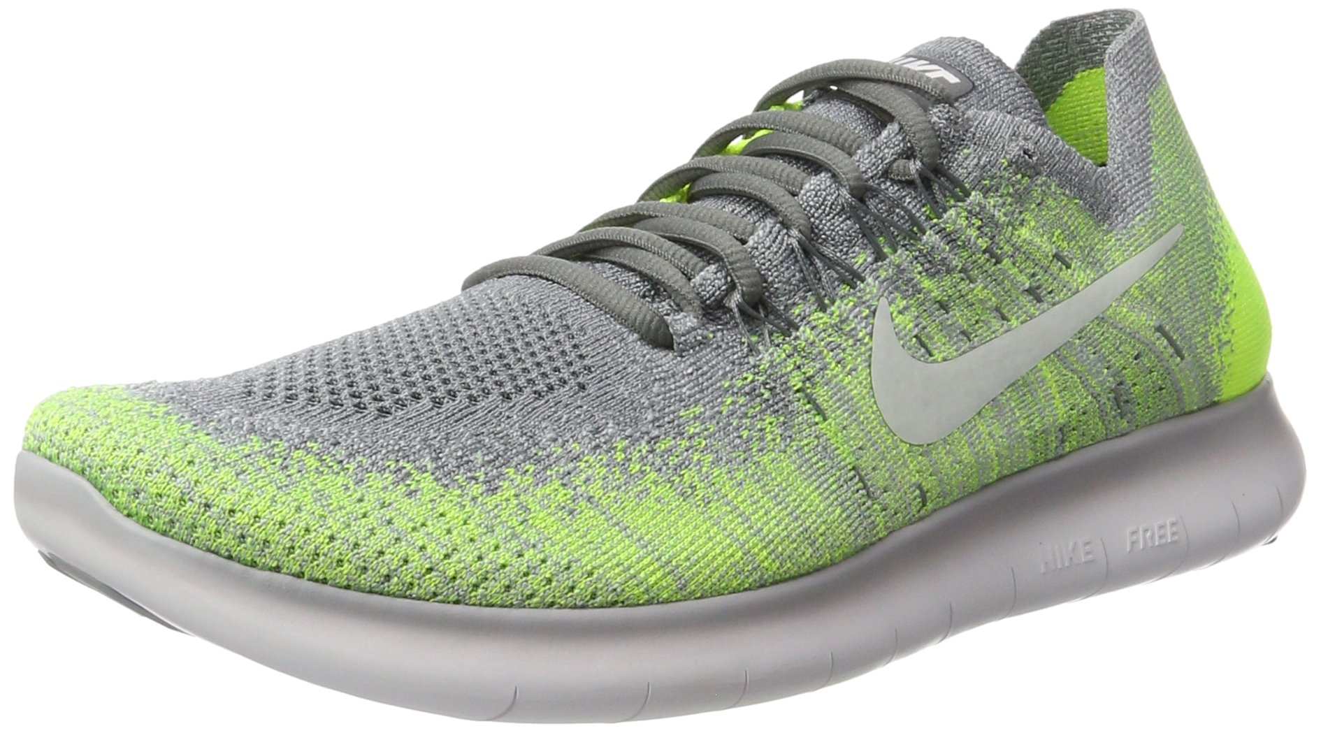 Men's Nike Free RN Flyknit 2017 Running Shoe Size 9.5 (COOL GREY/WHITE-WOLF GREY-VOLT) by NIKE