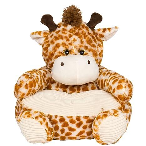 Soft Plush Giraffe Childrens Chair With Corduroy Trim 18in