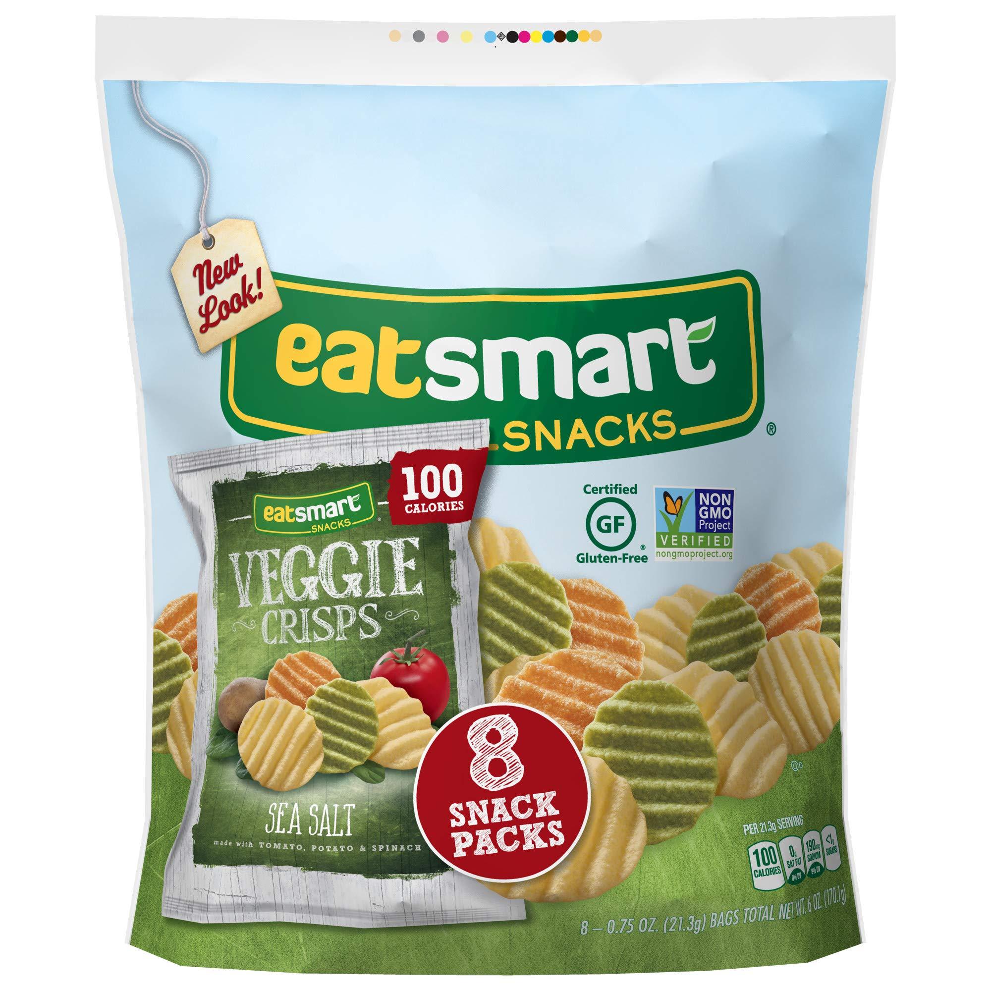 Eatsmart Snacks Veggie Crisps, 100 Calorie Multipack, Sea Salt, 8 Count (Pack of 6) by Eatsmart Snacks