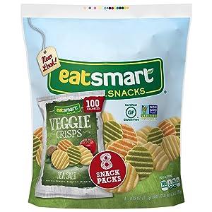 Eatsmart Snacks Veggie Crisps, 100 Calorie Multipack, Sea Salt, 8 Count (Pack of 6)