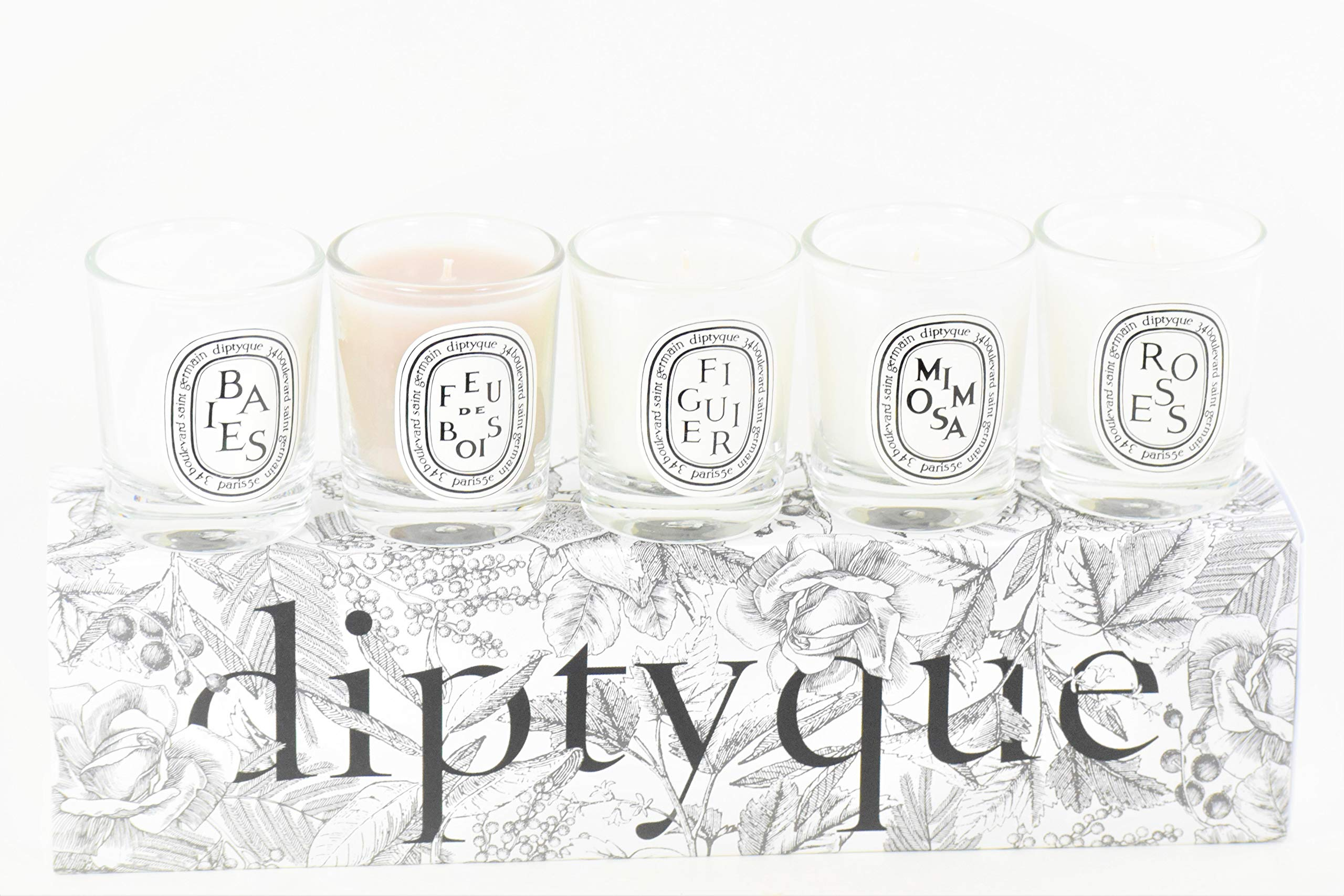 Diptyque 5 Piece Mini Candle Set Baies, Feu de Bois, Figuier, Mimosa & Roses - Exclusive 2019 Fall Collection by Diptyque