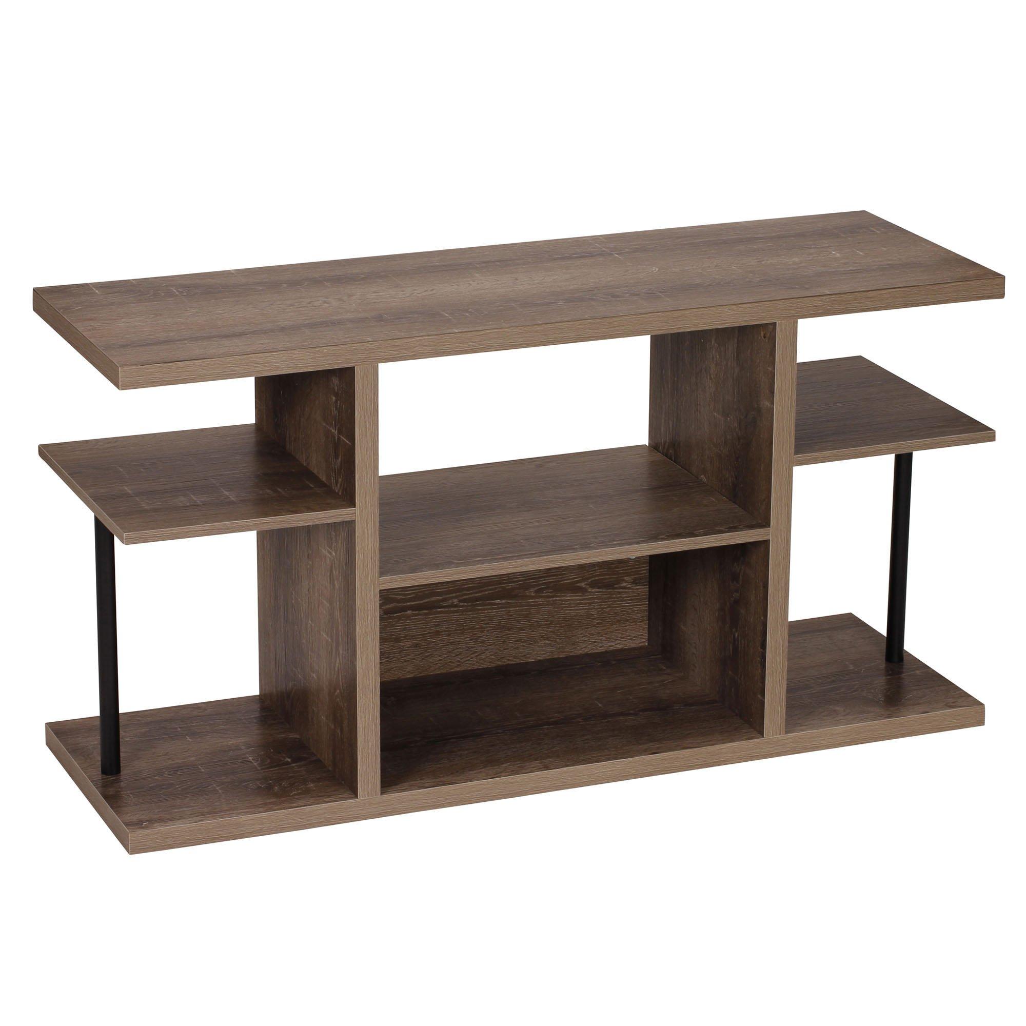 Household Essentials 8072-1 Ashwood Media Center | Entertainment TV Stand |6 Shelves for Storage