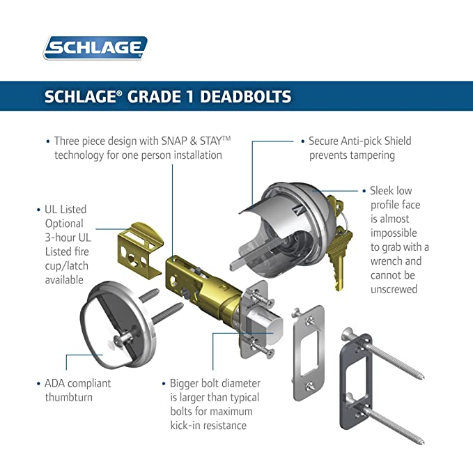 Schlage B60n 619 Single Cylinder Satin Nickel Deadbolt Door Dead