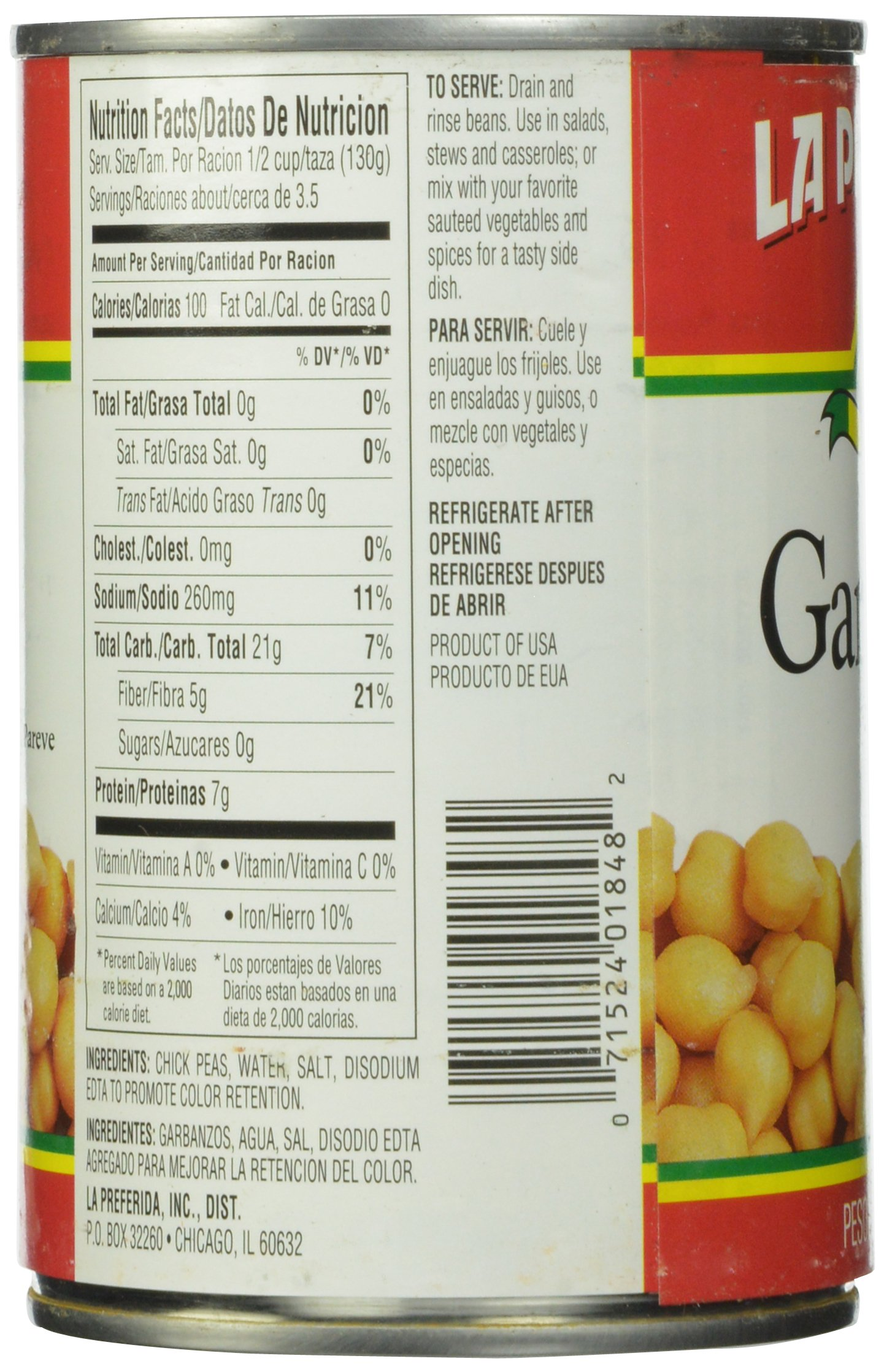 La Preferida Chick Peas, 15-Ounce (Pack of 12)