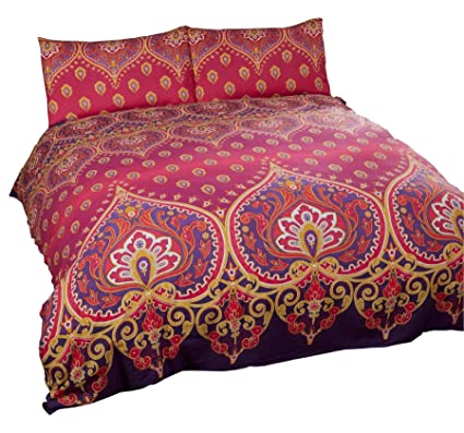 Amazon Com Indian Henna Style Red Purple Cotton Blend Usa Queen