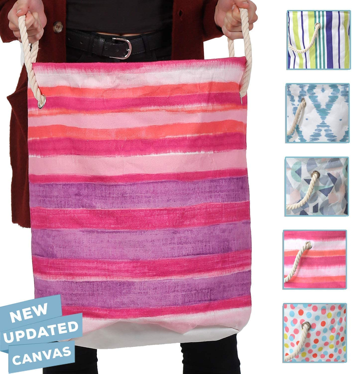86 York Designer Laundry Hampers with Rope Handles (Pink Purple Stripes)