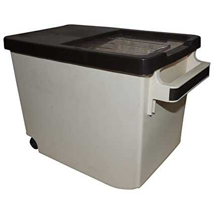 Buy Bagathon India Plastic Rice Grain Storage Container with Trolley