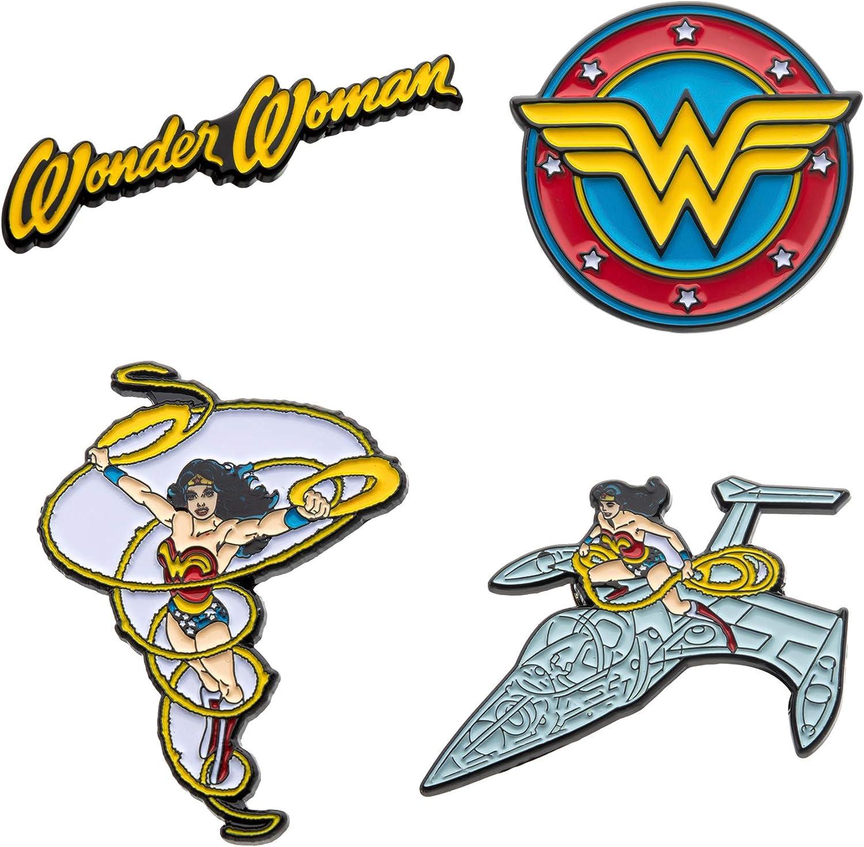 DC Comics Juego de pines de solapa unisex para adulto, diseño de Wonder Woman (4 unidades), color amarillo y rojo, talla única